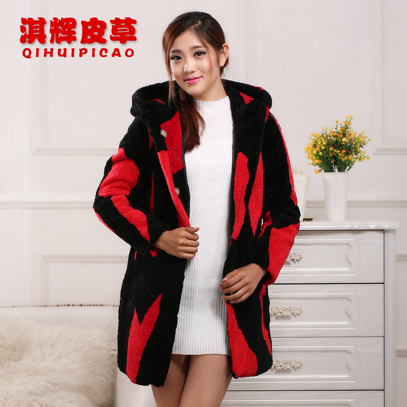 2016 new grass lamb fur coat long section of women's fur coat fur Yang Jianrong