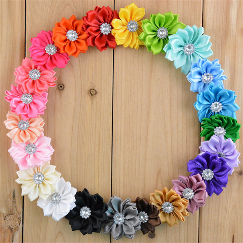 Chiffon Fabric  Sun Flower Without Clip For Girls Hair Accessories Hand Craft DIY 3.7cm 22colors 30pcs/lot halloween party zombie skull skeleton hand bone claw hairpin punk hair clip for women girl hair accessories headwear 1 pcs
