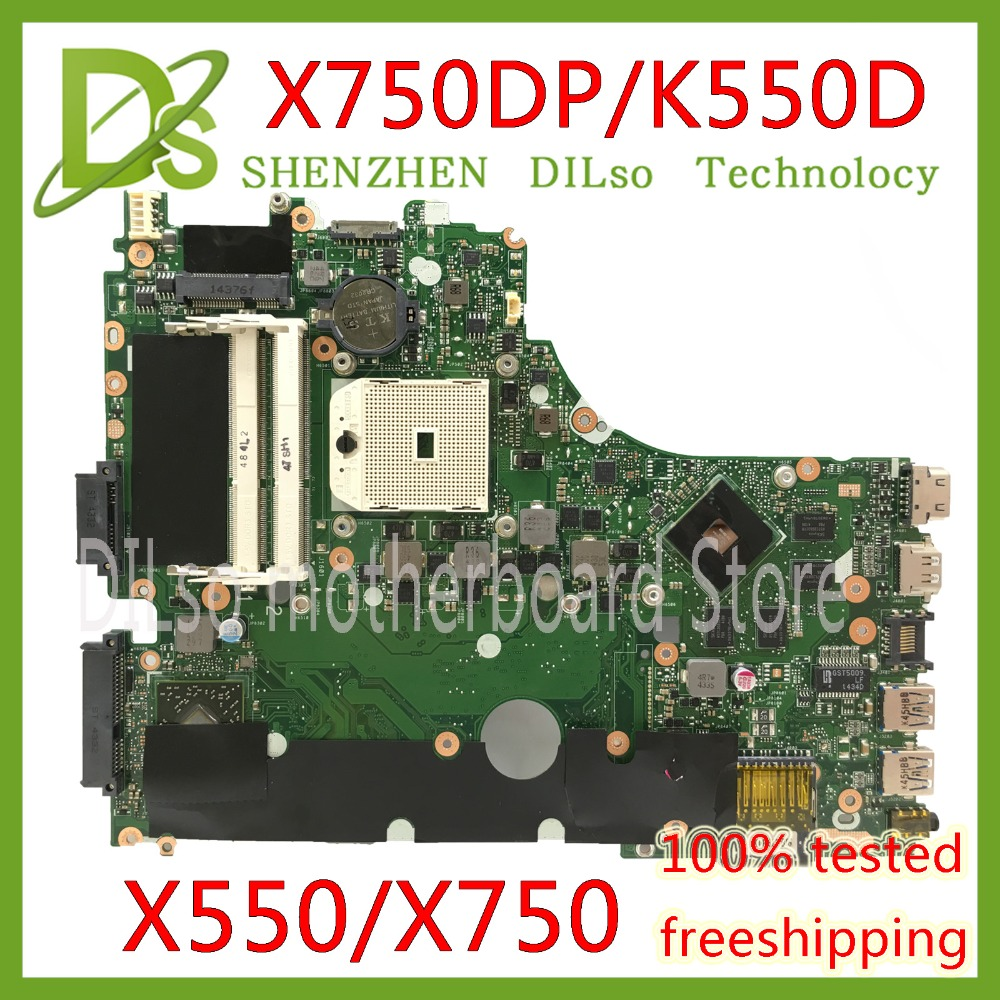 Carte mère KEFU X750 X550 pour ASUS X750DP K550D X550D K550DP X550DP carte mère d'ordinateur portable LVDS 2 GB mémoire vidéo 100% Test d'origine