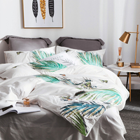2018 Fashion Green Leaves Butterfly Bed Cover Embroidery Bedlinens Egyptian Cotton Duvet Cover Set Queen King Pillowcases