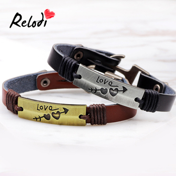 Relodi Personality Retro Bracelet PU Leather Couple Bangles for Men's Charm Jewelry Gift for Valentine's Day SP2289