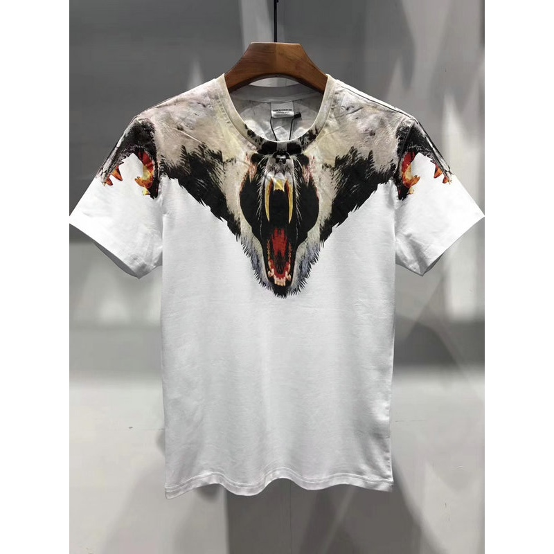 2018 New Top Quality Marcelo Burlon T-Shirt Men printed Animals Snake Milan Feather wings T-shirt bears Streetwear MB Shirt TOPS