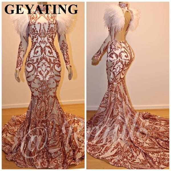 Sparkly Rose Gold Mermaid Feather Prom Dresses Long Sleeve Open Back African Evening Party Gowns Plus Size Graduation Dress 2019