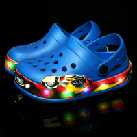 18 NEW Summer Beach Croc Fit Shoe/Flip Flops Slippers LED Light Shoes For Kids Boys/Girls Fashion Sandals Mesh Shoes Size 24 35