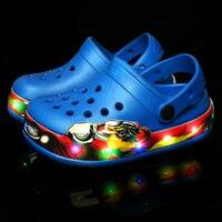 19 NEW Summer Beach Children Shoe/Flip Flops Slippers LED Light Shoes For Kids Boys/Girls Fashion Sandals Mesh Shoes Size 24 35
