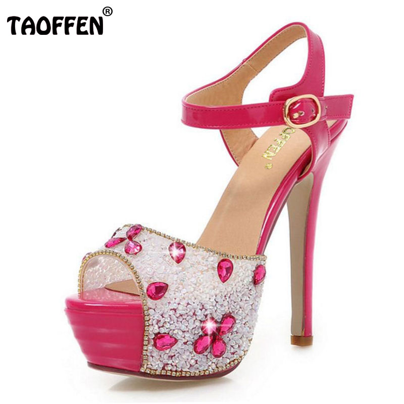 TAOFFEN Women High Heel Sandals Peep Toe Women Shoes Sandals Sexy Heel Shoes Party Shoes Women Wedding For Bride Size 34-39 taoffen women high heels sandals real leather peep toe shoes women buckle clear thick heel sandals daily footwear size 34 39