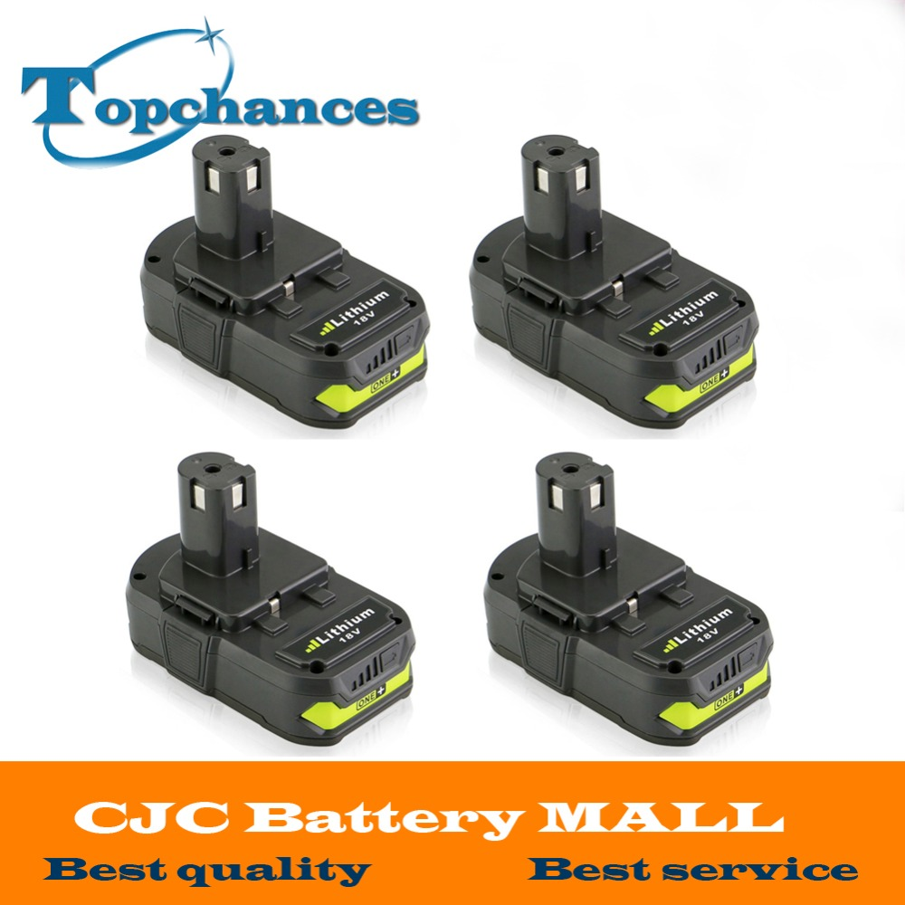 4PCS 18V 2500mAh Li Ion Rechargeable Battery For Ryobi RB18L25 One Plus for font b power