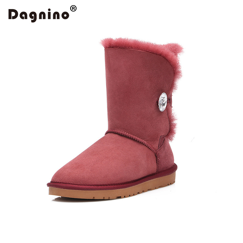 DAGNINO Brand High Quality Australia Warm Natural Sheepskin Real Fur 100% Wool Women Winter Snow Boots Rhinestone Crystal Button 2016 rhinestone sheepskin women snow boots with fur flat platform ankle winter boots ladies australia boots bottine femme botas