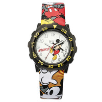 Disney Brand Original Children Boy Girl Watches Quartz Leather Cartoon Mickey Mouse Students Clocks NO MK