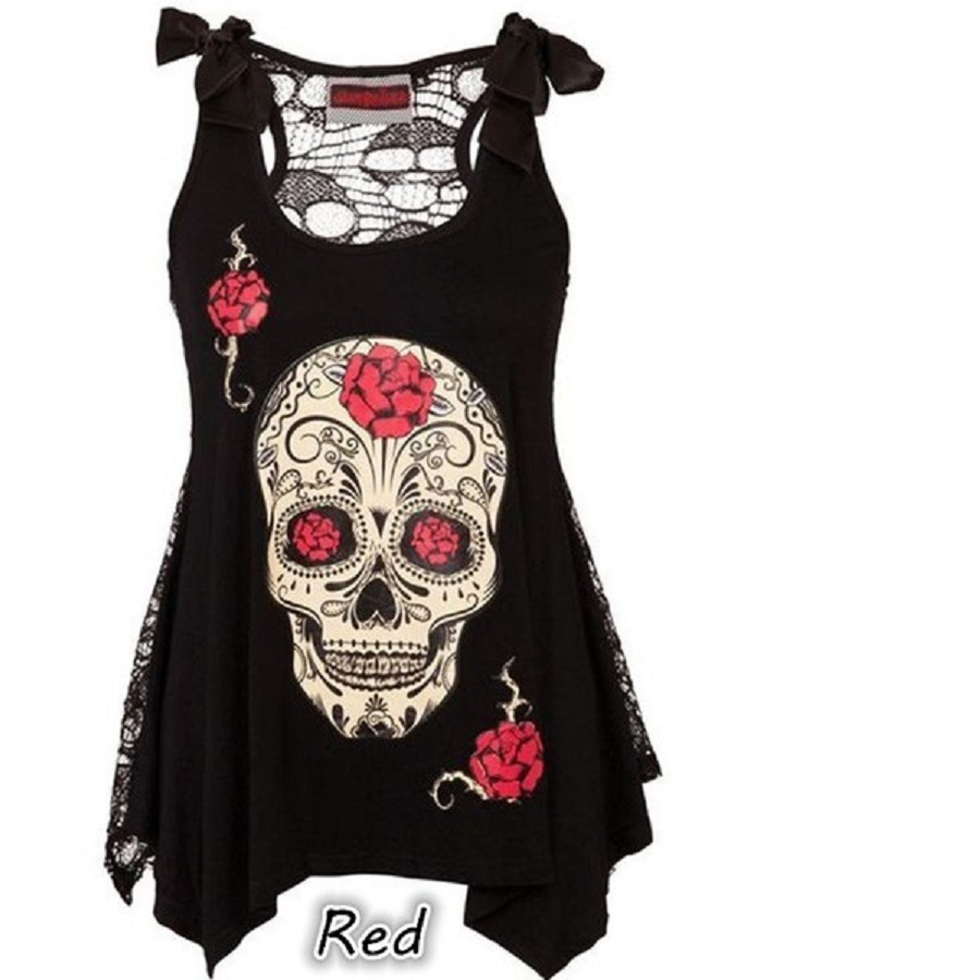 2018 new summer style skull and head digital print leisure suspender vest with a top top vest S-5XL