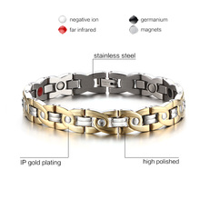 Magnetic Therapy Bracelet Men Jewelry Pain Relief for Arthritis Stainless Steel Health Energy Free gift box