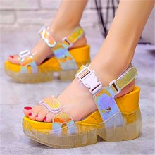 Womens Transparent Platform Wedge Gladiators Sport Sandals Open Toe Ankle Strap Summer Casual Party High Heels Beach Shoes