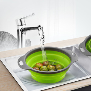 Foldable Silicone Colander Fruit Vegetable Washing Basket Strainer Kitchen Tool Kitchen Refrigerator Storage Box Food Container(China)