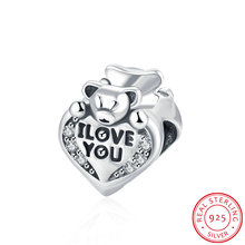 Pure 925 sterling silver I LOVE YOU Baby Bear CZ Charm Bead Fits Original Pandora DIY Bracelet Jewelry Making Accessories