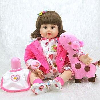Nicery 20inch 50cm Bebe Doll Reborn Soft Silicone Boy Girl Toy Reborn Baby Doll Gift for Children Pink Clothes White Bib