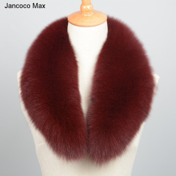 Jancoco Max 2019 New Long Real Fox Fur Collar Scarf Women & Men Spring Winter Warm Solid Jacket Coat Shawls Lining 75cm S7102 image