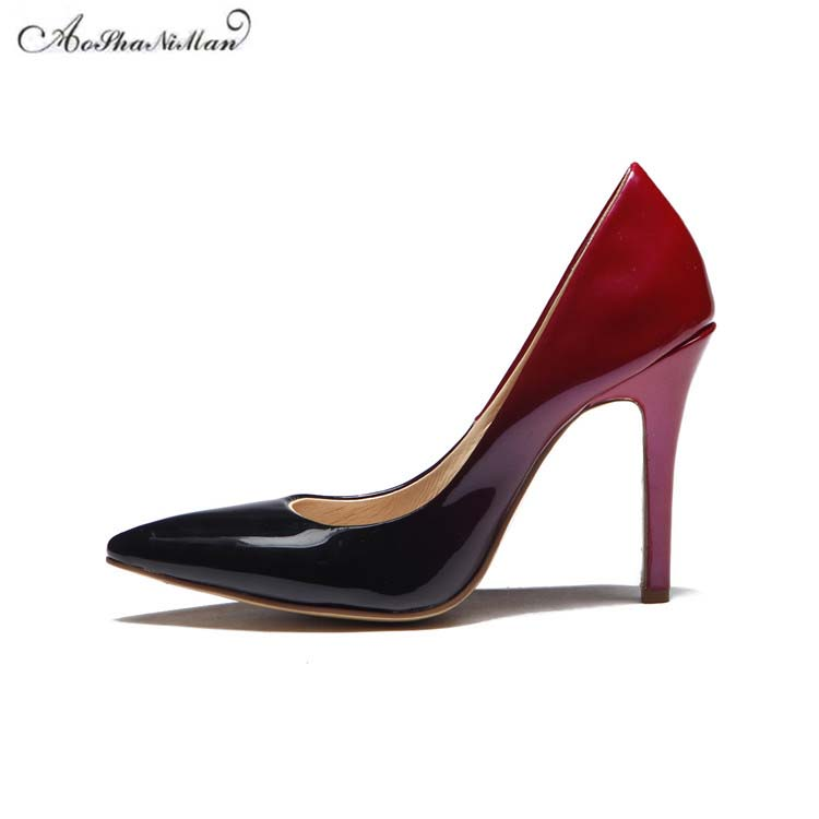 2017 spring new Wedding Shoes high heels pointed toe stilettos black red patent leather shoes for women real leather pupms vankaring new 2018 spring women flats shoes patent leather flat heels pointed toe black red shoes woman dress casual date shoes