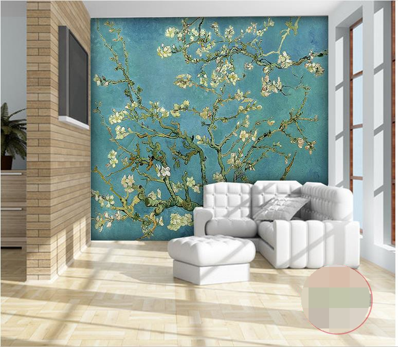 3d wallpaper photo wallpaper custom mural living room Van Gogh apricot flowers oil painting TV background wallpaper for walls 3d купить в Москве 2019