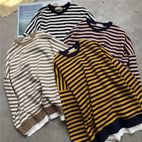 New Spring Autumn Casual Fake two piece Striped Sweatshirts Women O Neck Patchwork Loose Sweatshirt All Match Pullover Tops M467