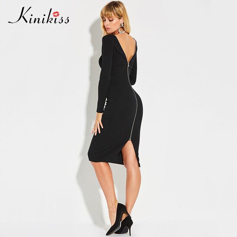 Kinikiss 2018 spring women stretch sexy club zippers women dress slim black bodycon knitted sweater backless zipper party dress