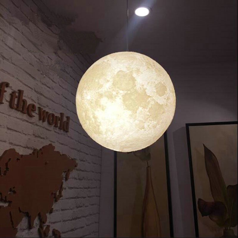 цена на 3D Print Pendant Lights Novelty Creative Moon Atmosphere Night Light Lamp Restaurant/Bar Hanging Lighting