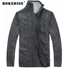 Autumn/Winter Men's Stand Collar Thickening Cardigan Male Top Quality Wool Blended Knitted Sweaters 5 Color Plus Size M-3XL L022