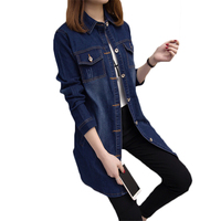 European Fashion 2018 Spring New Large Size 5XL Women S Long Denim Jacket Ladies Single Breasted