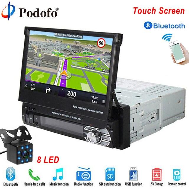 "Podofo 1 喧騒車のラジオ MP5 プレーヤー GPS ナビゲーション、マルチメディア車オーディオステレオ Bluetooth 7 ""HD 格納式 Autoradio AUX-IN /FM"