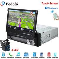 Podofo Autoradio Bluetooth GPS 12V Car Radio Player 1 Din 7 HD Touch Screen Phone AUX