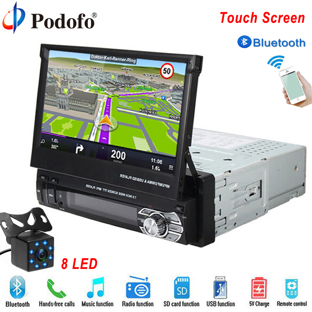 Podofo One din Car radio MP5 Player GPS Navigation Multimedia car audio stereo Bluetooth 7 HD Retractable Autoradio AUX-IN /FM
