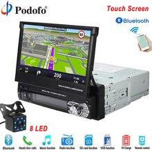 """Podofo din coche radio MP5 Player navegación GPS Multimedia coche estéreo de audio Bluetooth 7 """"HD retráctil Autoradio AUX-IN /FM"""