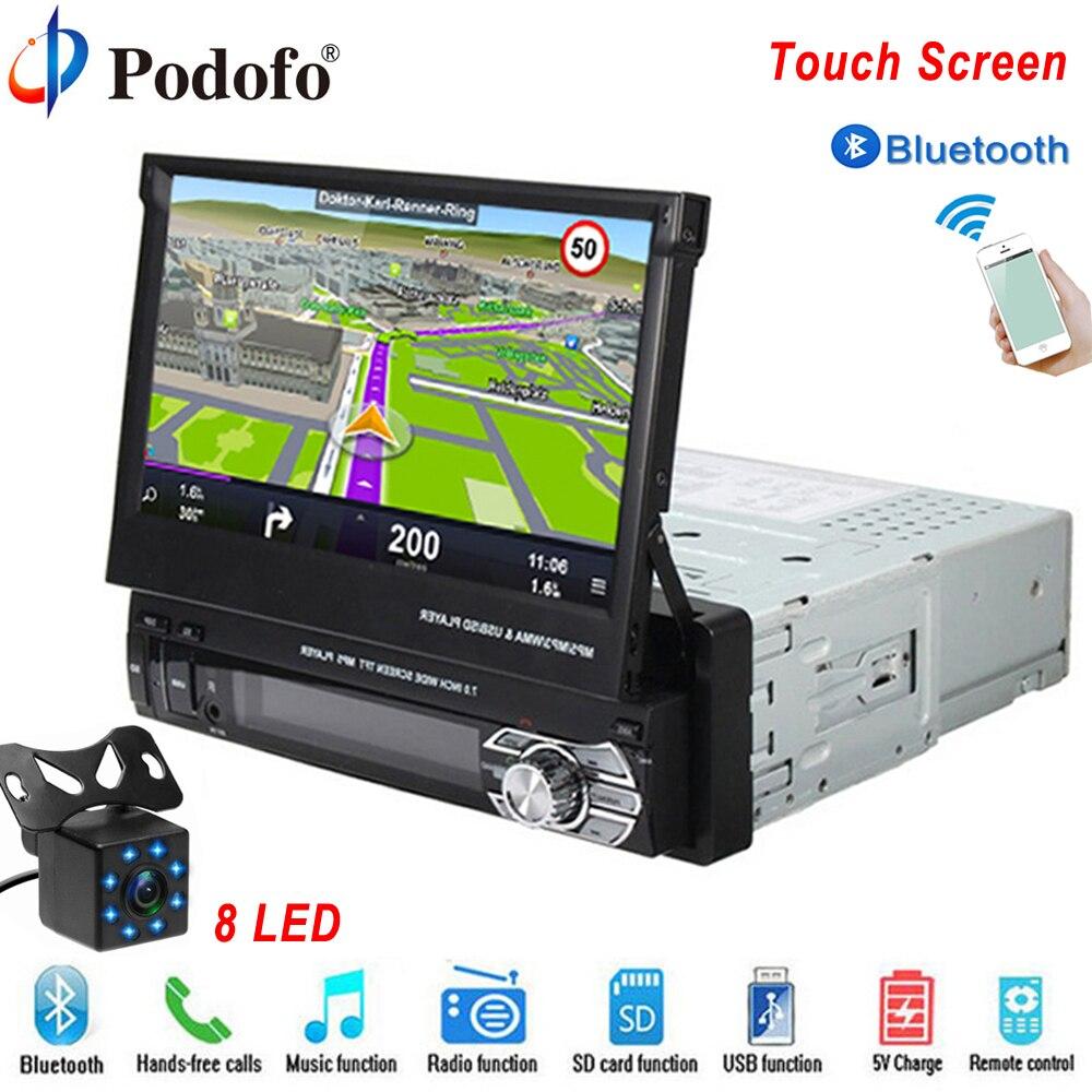 Podofo Un din Autoradio MP5 Lecteur navigation gps Multimédia Autoradio Bluetooth 7 HD Rétractable Autoradio AUX-IN/FM