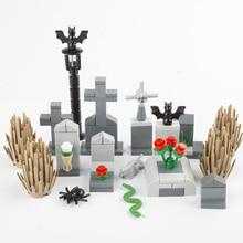 Moc blocos de construção luz rua cemitério acessório cidade peças tijolos cemitério animal cobra morcego grama rosa planta dia das bruxas d033