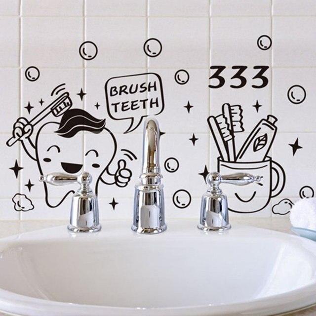 Bathroom Mirror Decor Cartoon Cute Funny Tooth Toothpaste Black Vinyl Art Wall Sticker Diy Decals