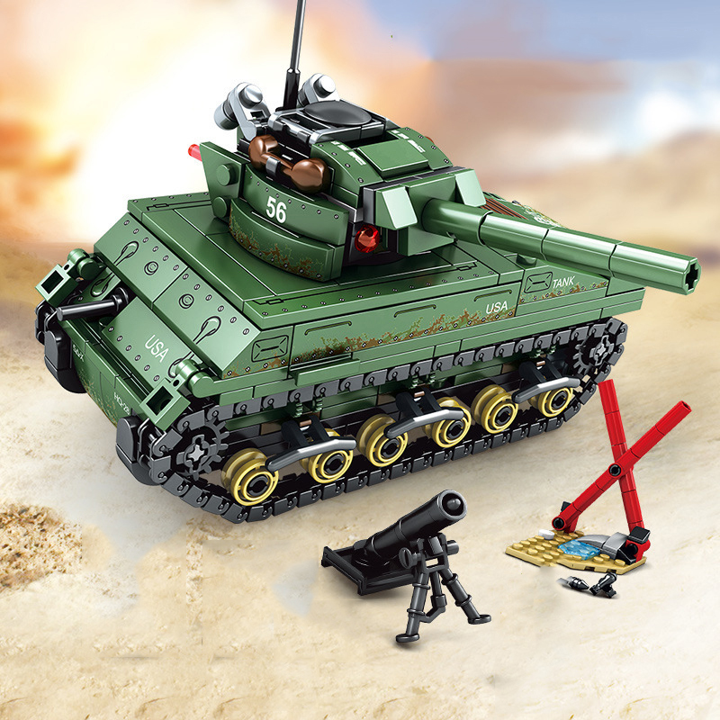 Military-World-War-2-Sherman-Medium-Tank-Building-Blocks-Compatible-City-Army-WW2-Weapons-Enlighten-Bricks (3)