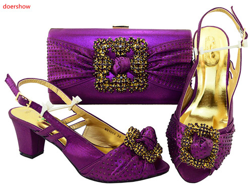 doershow purple Looking African Women Matching Italian Shoes And Bag Set Italian Shoes With Matching Bag For Wedding HVP1-10 african fashion shoes with matching bag set for wedding party italian design nigeria women pumps shoes and bags mm1060