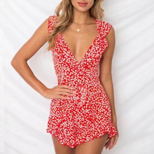 Women floral print playsuits spaghetti strap v-neck ruffles overalls backless cross bow elastic waist jumpsuits female vestidos coffee round neck elastic waist jumpsuits