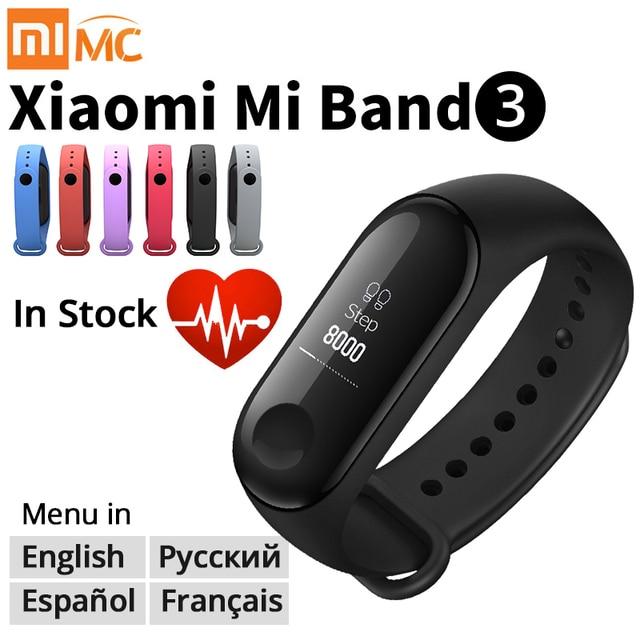 Origina Xiao mi mi Band 3 inteligentne nadgarstek bransoletka fitness mi zespół zespół 3 duży ekran dotykowy OLED wiadomość tętna czas Smartband
