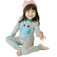 2016 Baby Kids Cotton Wave Clothing Sets Grey Long Sleeve Owl Pattern Top Pants Set Lovely