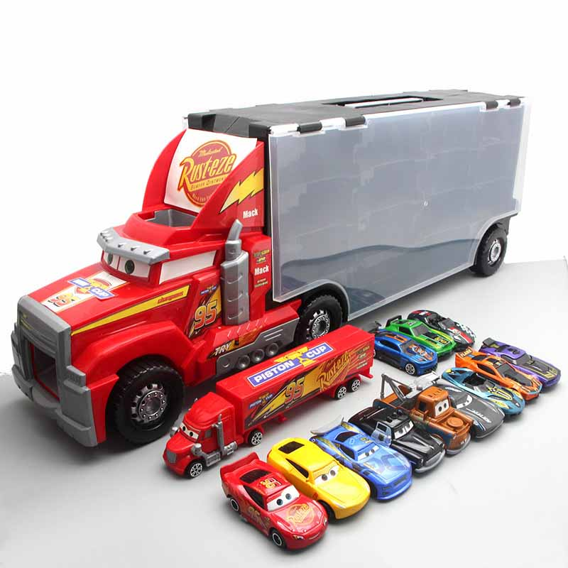 Disney Toys Portable Car Storage Container Truck Cartoon Mai Dashu 56cm Extra Large Mobilization Container Truck Safety 12 Car