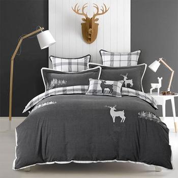 Pure Cotton Grey Bedding sets Soft Bedclothes Embroidery Deer Penguin Bed sheet set Duvet cover Pillowcases 4Pcs38