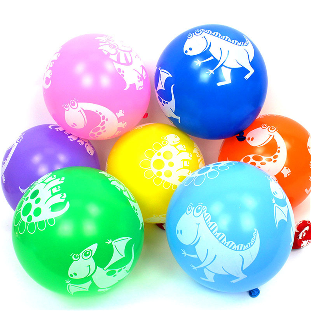 10 pieces mixed color cartoon dinosaur design latex balloon children's toy birthday party decoration