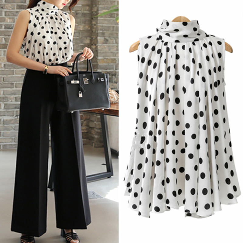 Elegant Women Polka Dot Chiffon Shirts Work OL Long Sleeve Loose Tops Blouse NEW