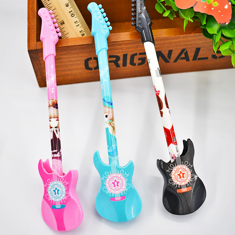 цена на Free Shipping 0.38mm Cute Kawaii Plastic Gel Pen Creative Guitar Pens For Writing Kids Novelty Gift School Supplies 2119