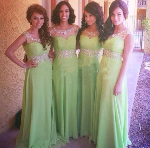 Plus Size Mint Green Bridesmaid Dresses Beading Wedding Guest
