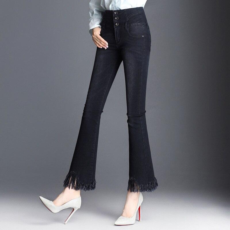 Vita Cut Color Skinny Donne Donna Per Bottom Color Flare I 2017 Alta Le Neri Boot Femminile Svasati Retro Bell Picture Nappa Jeans picture 6rw6qRE