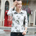 Marca de Roupas de Outono 2016 das Mulheres T-shirt Impressão Floral Camisas Pólo Slim Fit Feminino Camisetas Casual Tops Tee Plus Size JA2284