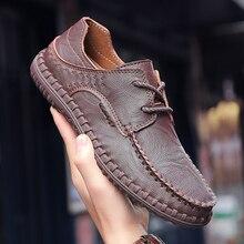 Мужская повседневная обувь; Высококачественная удобная обувь для вождения; лоферы на плоской подошве; уличная прогулочная обувь; большие размеры 38-48