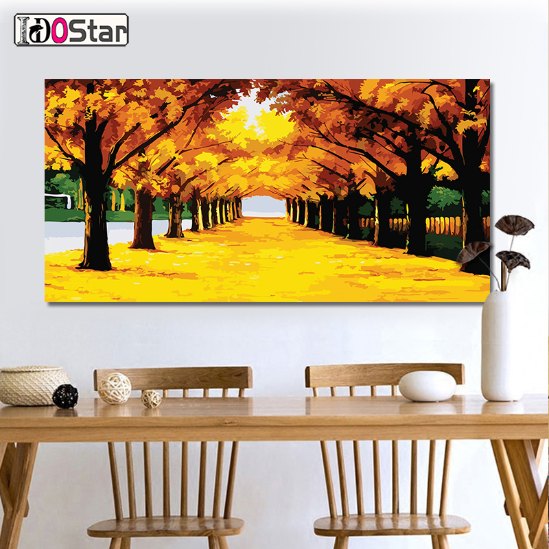 60x120cm golden autumn scene DIY Painting By Numbers Large Size Acrylic Paint On Canvas Modern Wall Home Decors