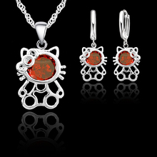 JEXXI Trendy Cubic Zirconia Cat Pendant Necklace Earrings Party Sets For Girls Gift 925 Sterling Silver Jewelry Sets For Women